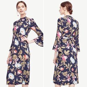 Ann Taylor Morning Glory Floral Midi Dress